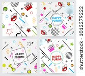 trendy  memphis style purim... | Shutterstock .eps vector #1012279222