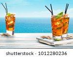 refreshing lemonade with... | Shutterstock . vector #1012280236