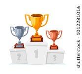 gold  silver  bronze trophy... | Shutterstock .eps vector #1012281016