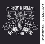 rock and roll tattoo. bull... | Shutterstock .eps vector #1012282645