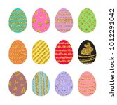 set of colorful easter eggs... | Shutterstock .eps vector #1012291042