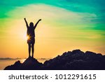 silhouette of young woman relax ... | Shutterstock . vector #1012291615