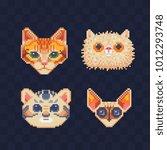 cute cats. pixel art. cat... | Shutterstock .eps vector #1012293748