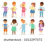 sick kids vector child with... | Shutterstock .eps vector #1012297372