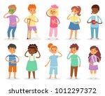 sick kids vector child with... | Shutterstock .eps vector #1012297372