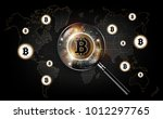 golden bitcoin digital currency ... | Shutterstock .eps vector #1012297765