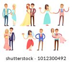 happy newlywed couples composed ... | Shutterstock .eps vector #1012300492