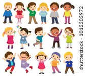 happy kids cartoon collection.... | Shutterstock .eps vector #1012303972