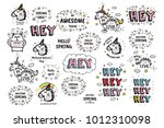 big set of vector cute doodles... | Shutterstock .eps vector #1012310098