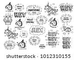 big set of vector cute doodles... | Shutterstock .eps vector #1012310155