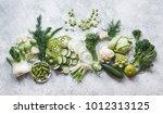 plant based raw food seasonal... | Shutterstock . vector #1012313125