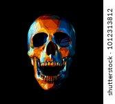 stylized low poly orange skull... | Shutterstock .eps vector #1012313812