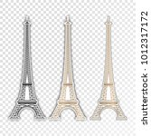 eiffel tower set  paris. france.... | Shutterstock .eps vector #1012317172