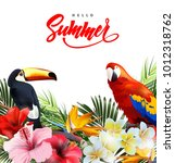 summer holidays background with ... | Shutterstock .eps vector #1012318762