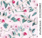 Stock photo flowers composition pattern made of pink flowers and eucalyptus branches on pink background flat 1012324882