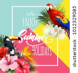 summer holidays background with ... | Shutterstock .eps vector #1012329085