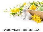 easter rabbit eggs spring...   Shutterstock . vector #1012330666