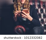 a young woman is sitting on a... | Shutterstock . vector #1012332082