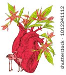 human heart with flowers   Shutterstock .eps vector #1012341112