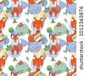 seamless pattern with doodle...   Shutterstock .eps vector #1012363876