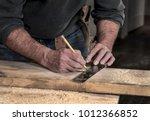 closeup of carpenter's rough... | Shutterstock . vector #1012366852