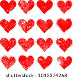 set of hearts . grunge stamps... | Shutterstock .eps vector #1012374268