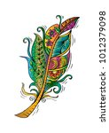 feather birds hand drawing | Shutterstock .eps vector #1012379098