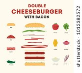 double cheeseburger with bacon... | Shutterstock .eps vector #1012382572