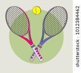 tennis racket and ball | Shutterstock .eps vector #1012384462