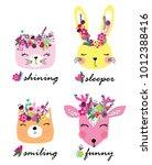 cute animal cartoon artwork | Shutterstock .eps vector #1012388416