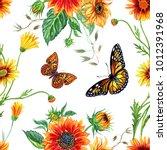 seamless watercolor pattern... | Shutterstock . vector #1012391968