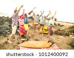 hippie friends having fun...   Shutterstock . vector #1012400092