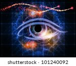 Design composed of eye outlines, numbers, fractal and abstract design elements as a metaphor on the subject of modern technologies, mechanical progress, artificial intelligence and digital imaging - stock photo