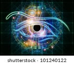 Interplay of eye outlines, fractal and abstract design elements on the subject of modern technologies, mechanical progress, artificial intelligence, virtual reality and digital imaging - stock photo