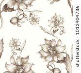 seamless background. dahlia is... | Shutterstock . vector #1012404736