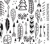 vector seamless aztec tribal... | Shutterstock .eps vector #1012407646