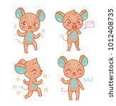 vector set with cute mouse for... | Shutterstock .eps vector #1012408735