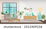 Modern interior design of a living room or office space in an industrial style. | Shutterstock vector #1012409236