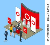 isometric promotional stands or ... | Shutterstock . vector #1012412485