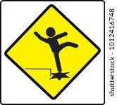 beware step sign  warning... | Shutterstock .eps vector #1012416748
