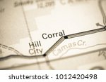 corral. idaho. usa on a map. | Shutterstock . vector #1012420498