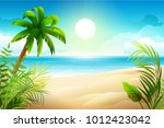 sunny day on tropical sandy... | Shutterstock .eps vector #1012423042