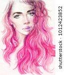 beautiful woman. fashion... | Shutterstock . vector #1012423852