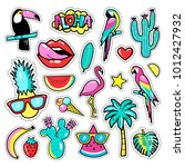 fashion tropical patch badges... | Shutterstock .eps vector #1012427932