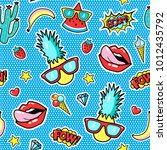 seamless pattern with fashion... | Shutterstock .eps vector #1012435792