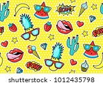 seamless pattern with fashion... | Shutterstock .eps vector #1012435798