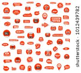 set of red paper stickers... | Shutterstock . vector #1012439782