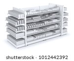shelves with blank goods in the ... | Shutterstock . vector #1012442392