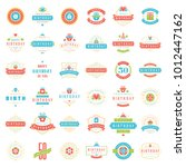 happy birthday badges and... | Shutterstock .eps vector #1012447162
