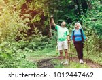 elderly couple admiring nature... | Shutterstock . vector #1012447462